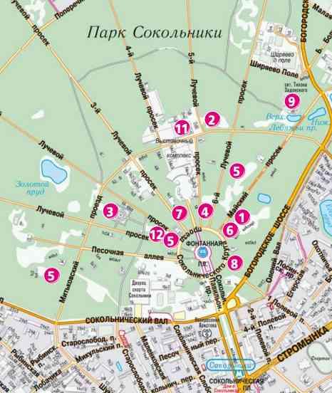 План-схема Парк Сокольники
